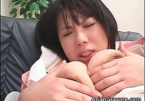 Nasty with an increment of busty asian babe receives tit